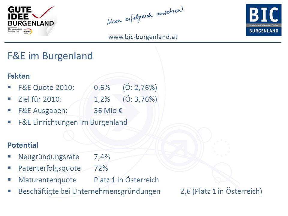 F&E im Burgenland Fakten F&E Quote 2010: 0,6% (Ö: 2,76%)