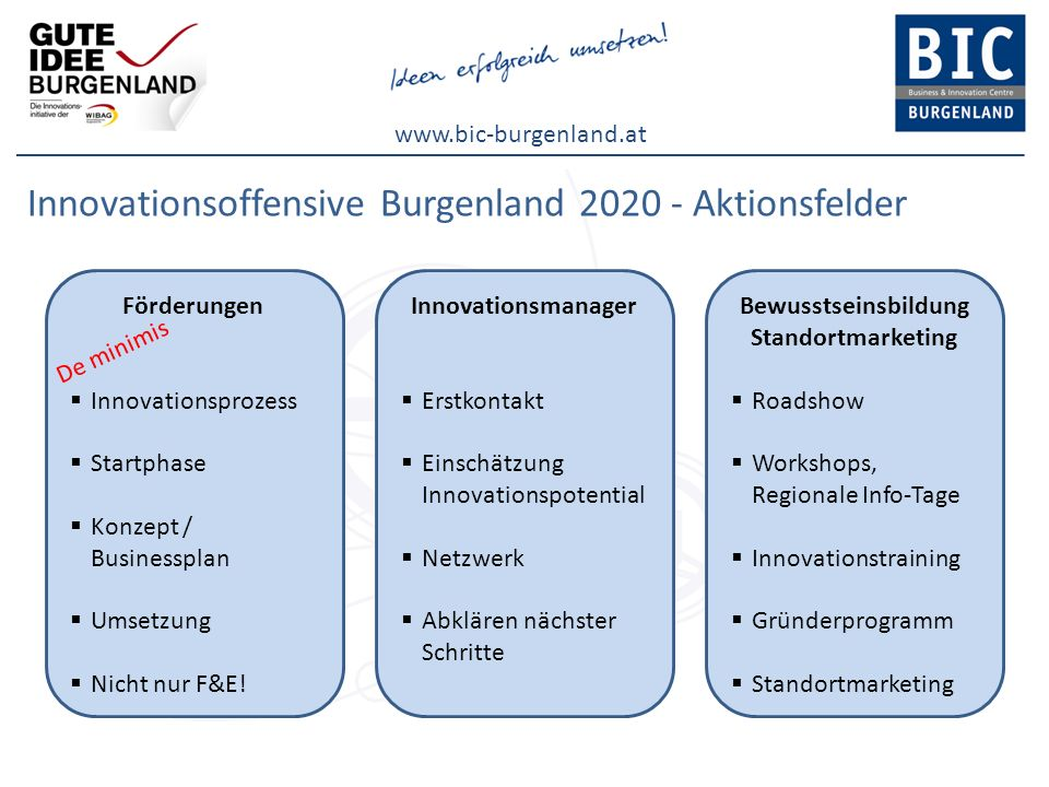 Innovationsoffensive Burgenland 2020 - Aktionsfelder