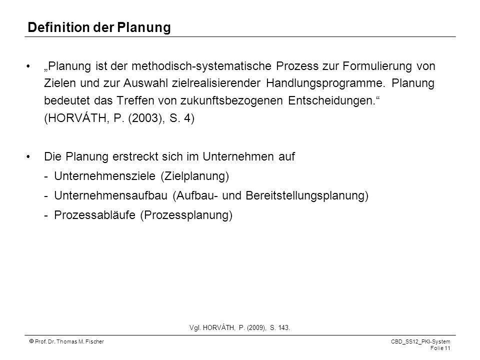 Definition der Planung