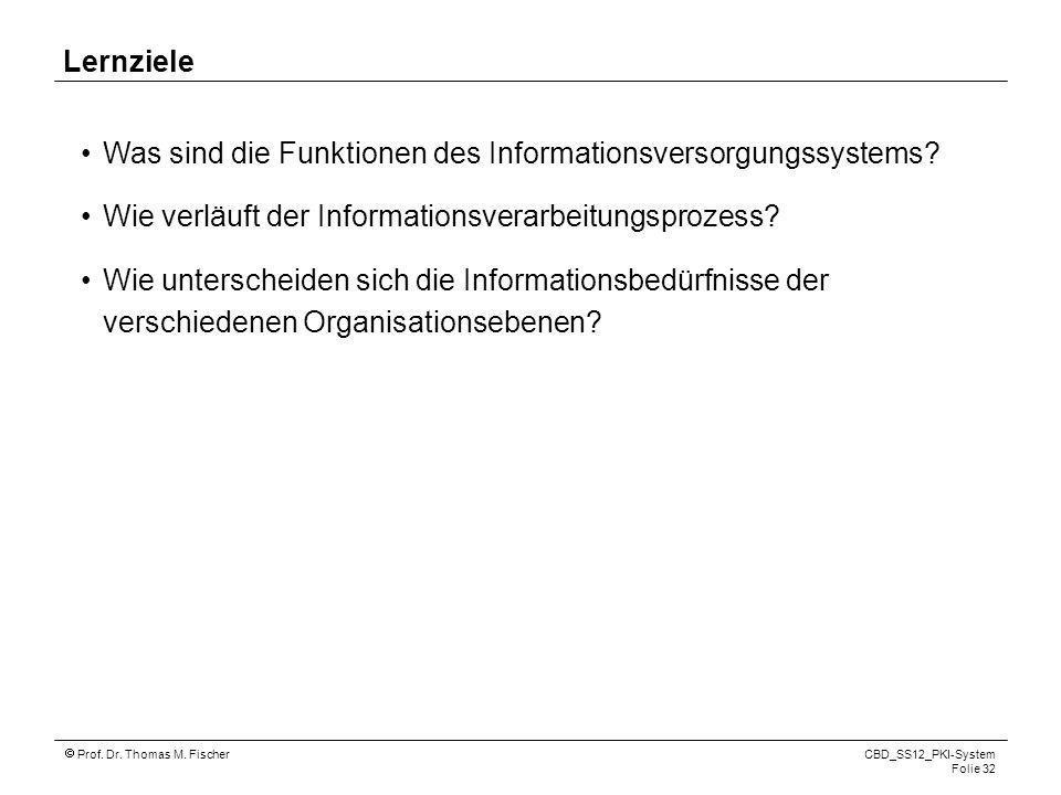 Lernziele Was sind die Funktionen des Informationsversorgungssystems Wie verläuft der Informationsverarbeitungsprozess