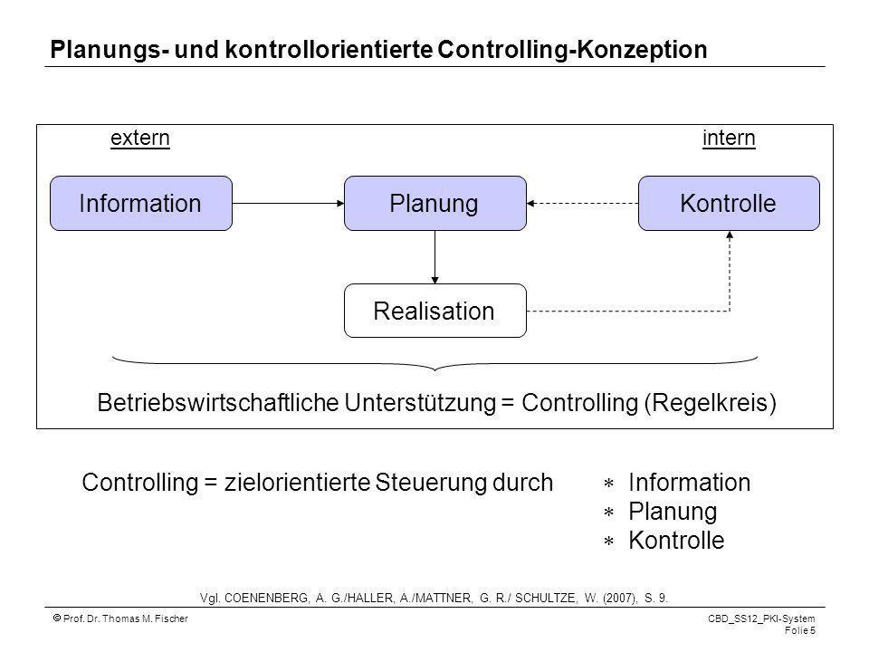 Planungs- und kontrollorientierte Controlling-Konzeption