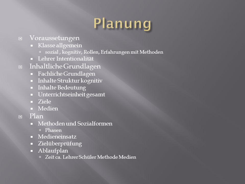 Planung Voraussetungen Inhaltliche Grundlagen Plan Klasse allgemein