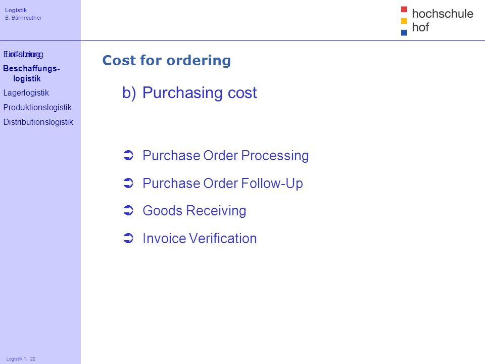 b) Purchasing cost Cost for ordering Purchase Order Processing