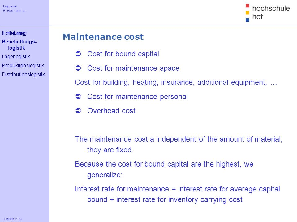 Maintenance cost Cost for bound capital Cost for maintenance space