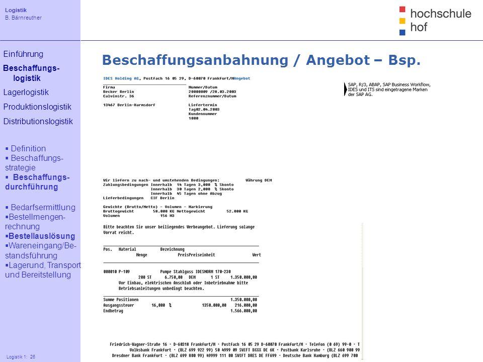 Beschaffungsanbahnung / Angebot – Bsp.