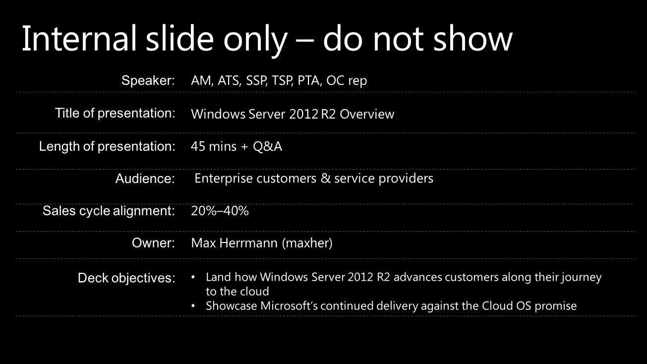 Internal slide only – do not show