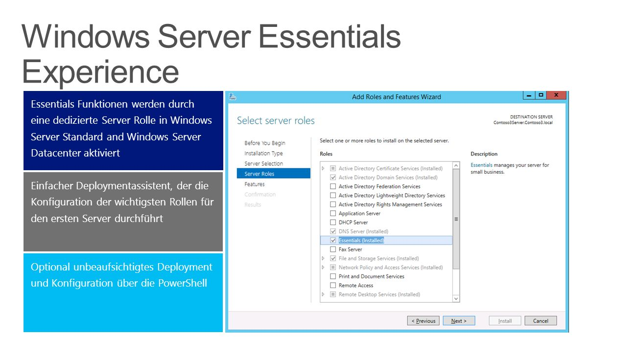 Windows Server Essentials Experience