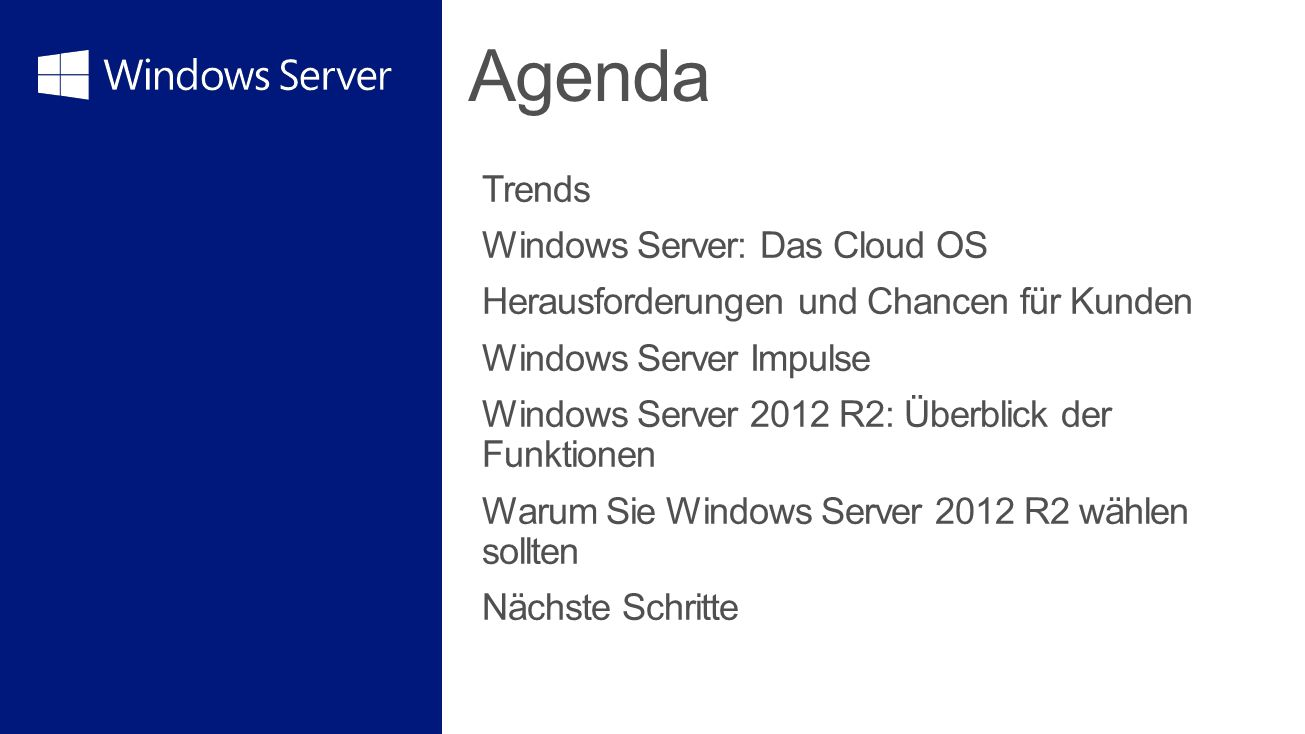 Agenda Trends Windows Server: Das Cloud OS