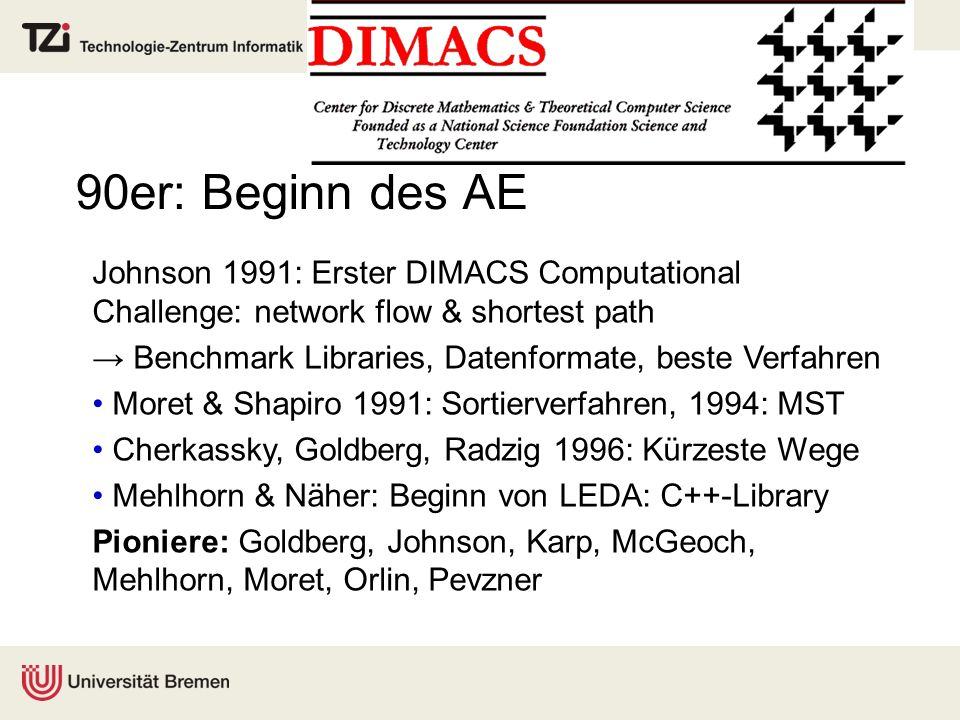 90er: Beginn des AE Johnson 1991: Erster DIMACS Computational Challenge: network flow & shortest path.