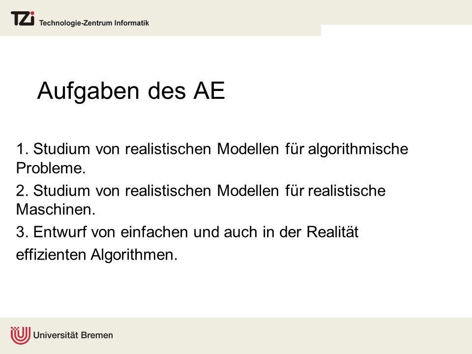 Aufgaben des AE 1. Studium von realistischen Modellen für algorithmische Probleme. 2. Studium von realistischen Modellen für realistische Maschinen.