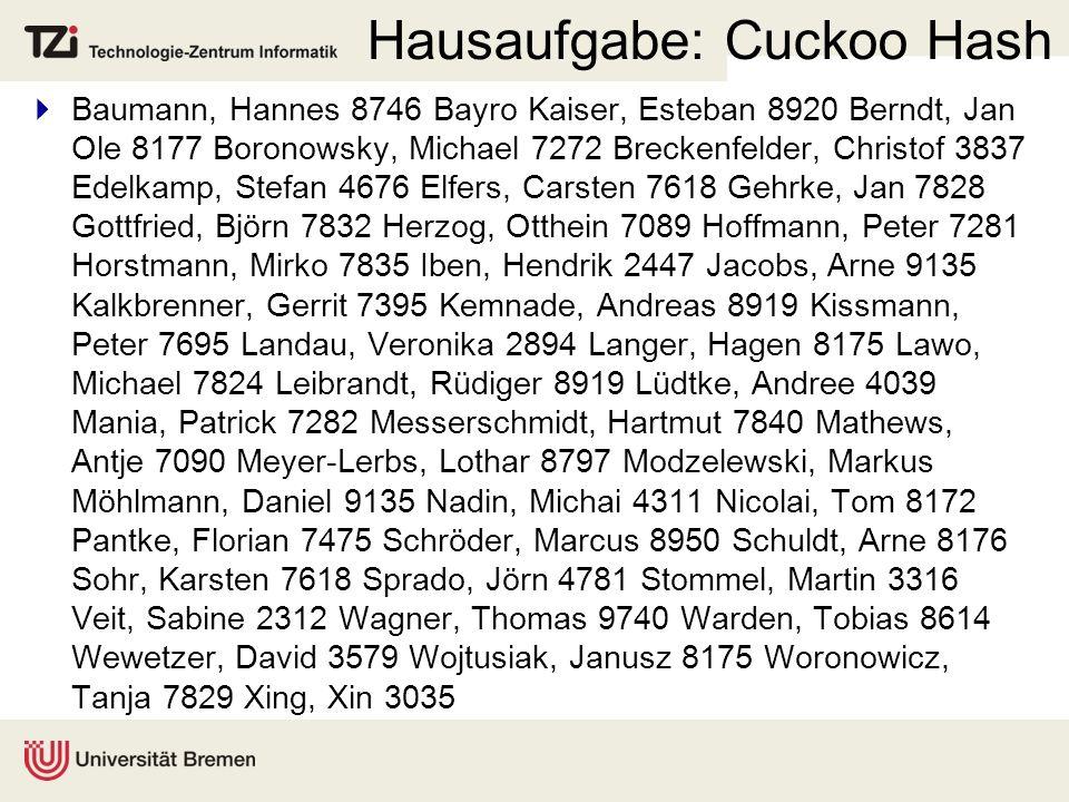 Hausaufgabe: Cuckoo Hash