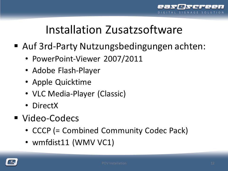 Installation Zusatzsoftware