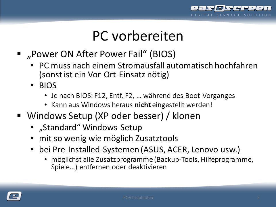 "PC vorbereiten ""Power ON After Power Fail (BIOS)"