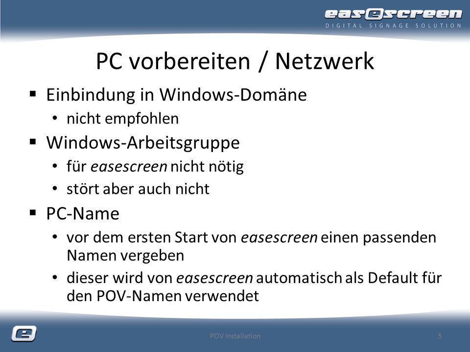 PC vorbereiten / Netzwerk