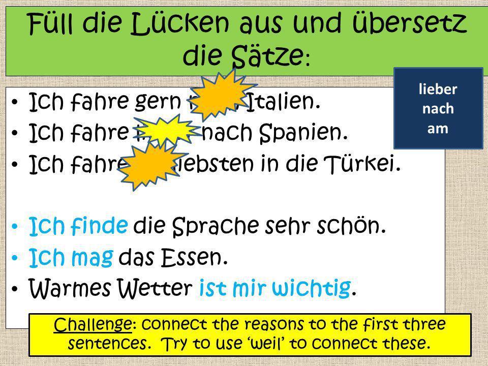 Füll die Lücken aus und übersetz die Sätze: