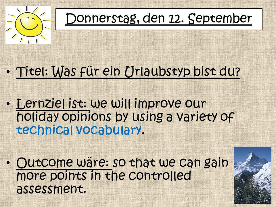 Donnerstag, den 12. September