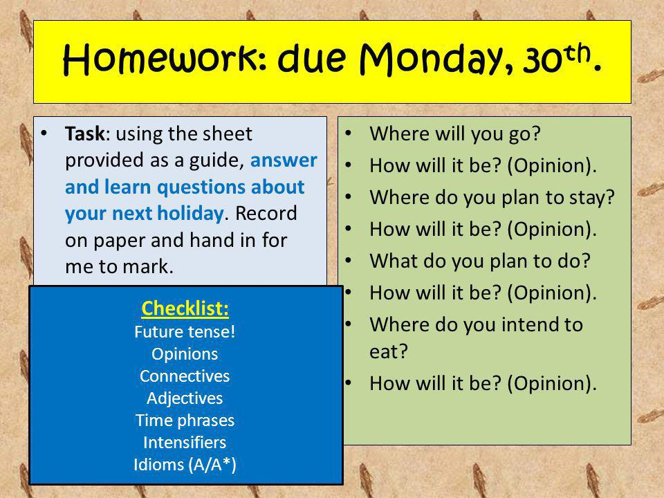Homework: due Monday, 30th.
