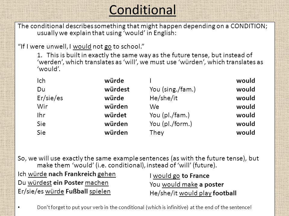 Conditional The conditional describes something that might happen depending on a CONDITION; usually we explain that using 'would' in English: