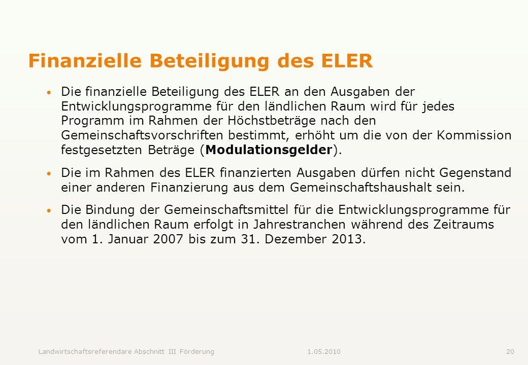 Finanzielle Beteiligung des ELER