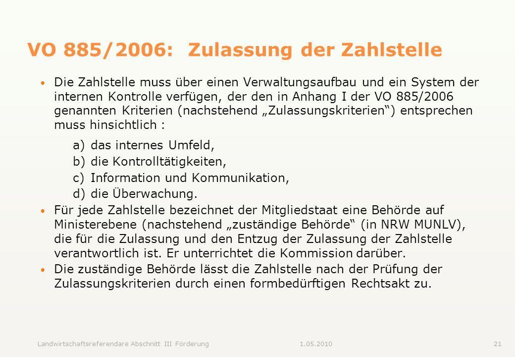 VO 885/2006: Zulassung der Zahlstelle