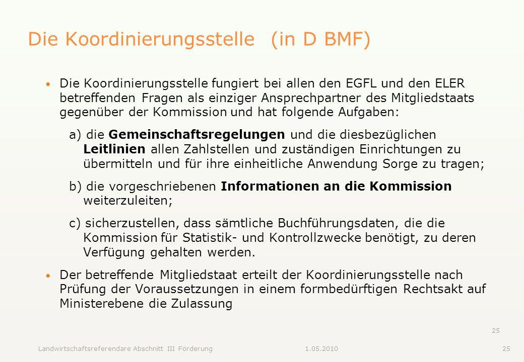 Die Koordinierungsstelle (in D BMF)