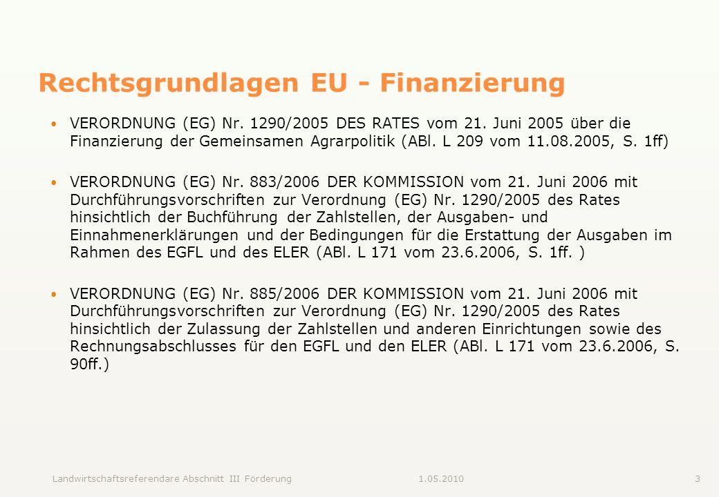 Rechtsgrundlagen EU - Finanzierung