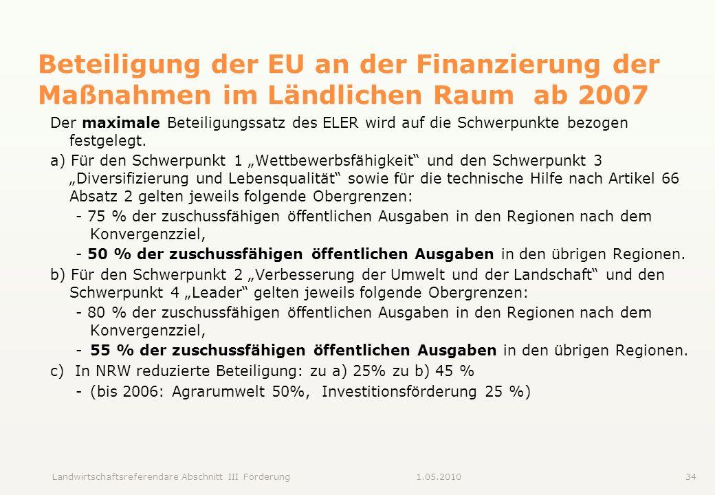 Beteiligung der EU an der Finanzierung der Maßnahmen im Ländlichen Raum ab 2007