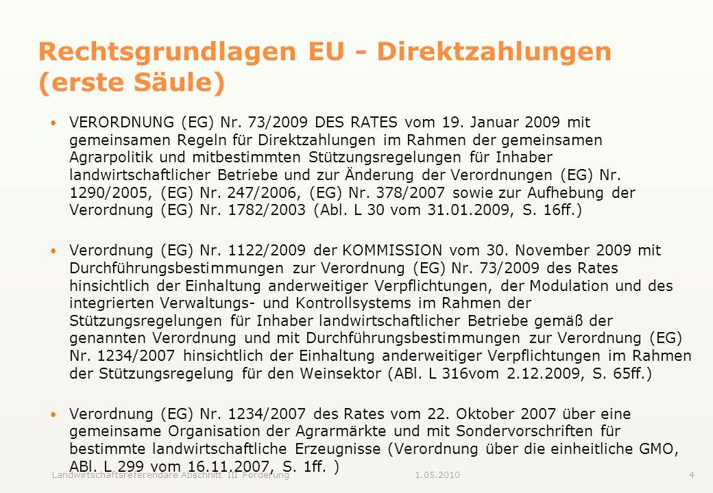 Rechtsgrundlagen EU - Direktzahlungen (erste Säule)