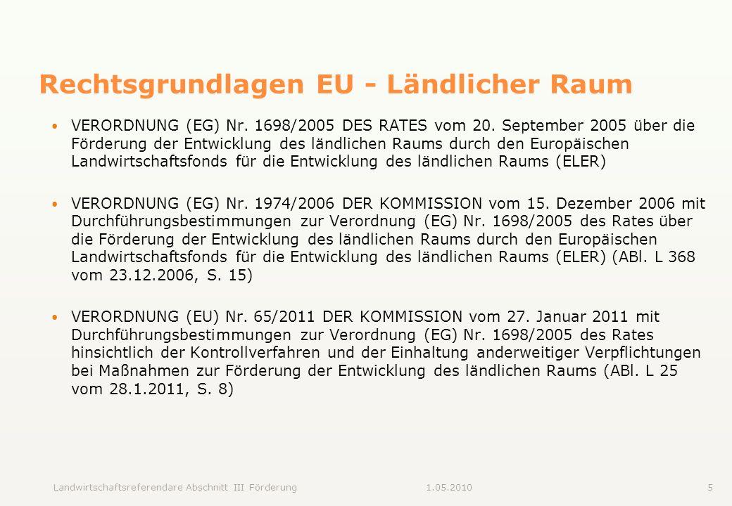 Rechtsgrundlagen EU - Ländlicher Raum
