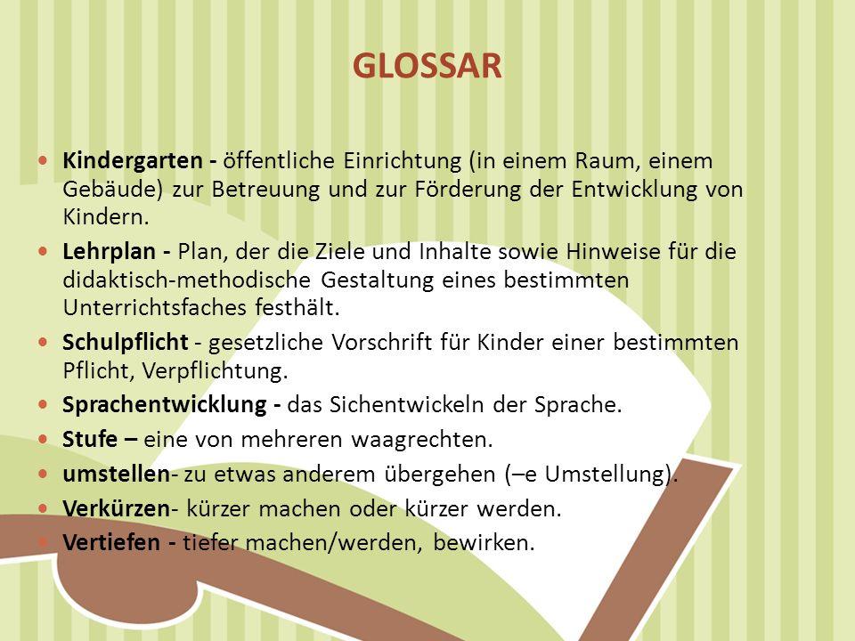 GLOSSAR Kindergarten - öffentliche Einrichtung (in einem Raum, einem Gebäude) zur Betreuung und zur Förderung der Entwicklung von Kindern.