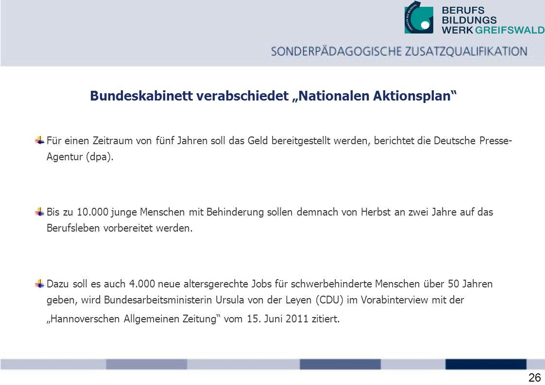 """Bundeskabinett verabschiedet """"Nationalen Aktionsplan"""