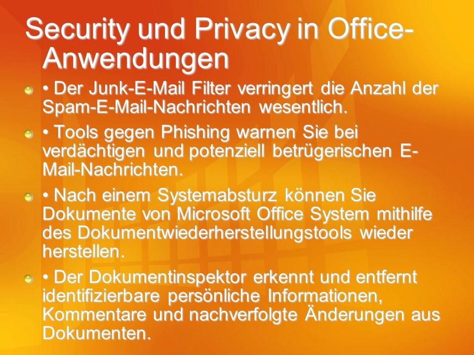 Security und Privacy in Office-Anwendungen