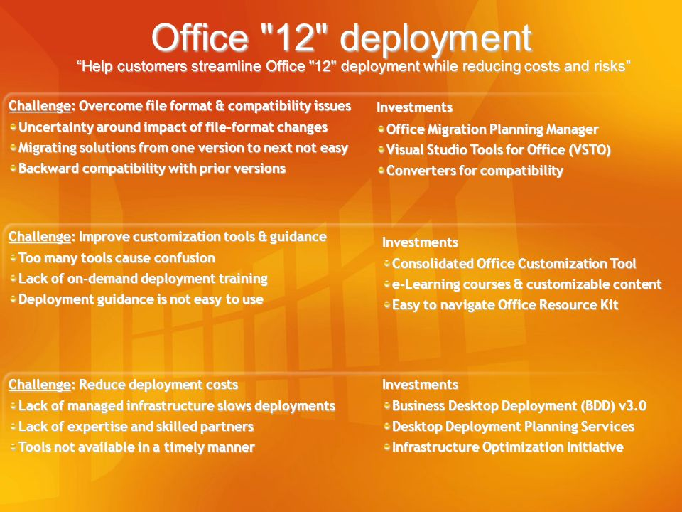 3/28/2017 5:13 PM Office 12 deployment Help customers streamline Office 12 deployment while reducing costs and risks