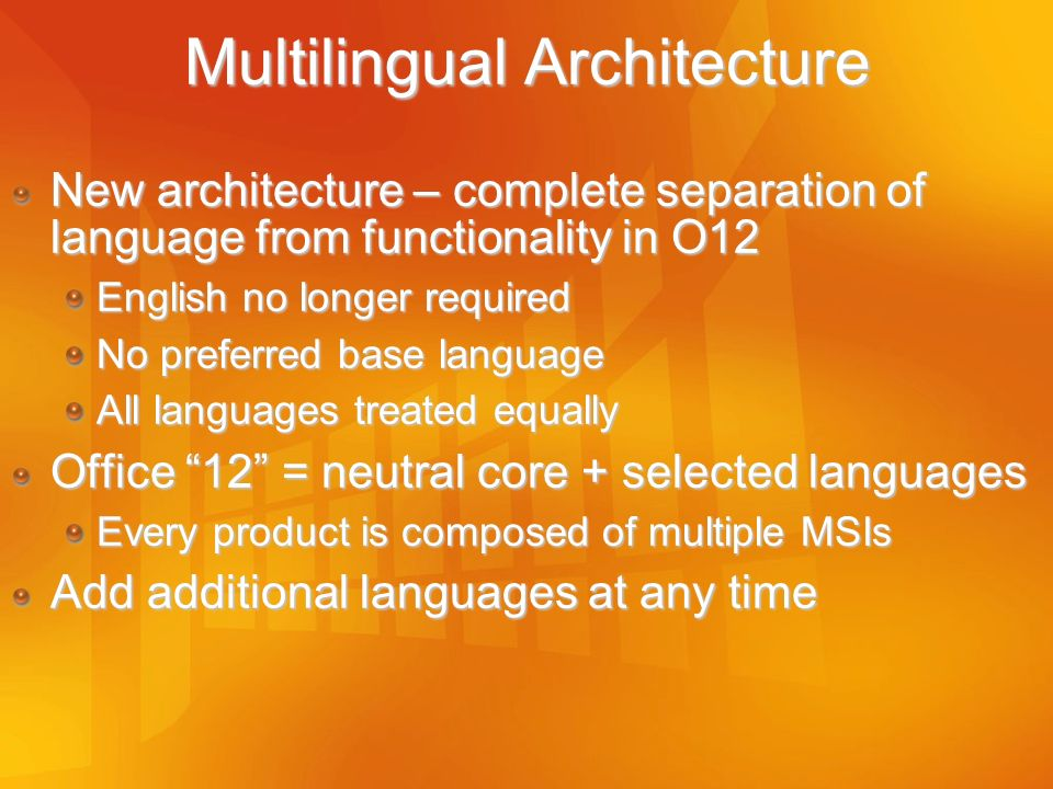 Multilingual Architecture
