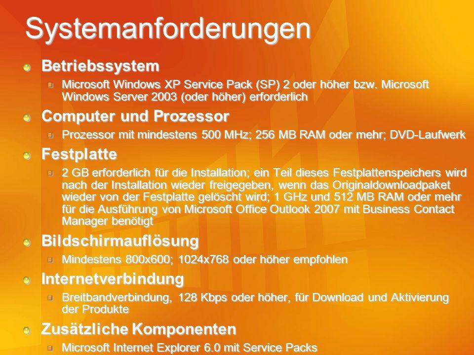 Systemanforderungen Betriebssystem Computer und Prozessor Festplatte