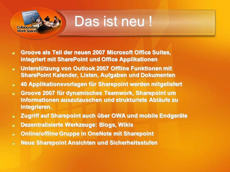 Das ist neu ! Groove als Teil der neuen 2007 Microsoft Office Suites, integriert mit SharePoint und Office Applikationen.