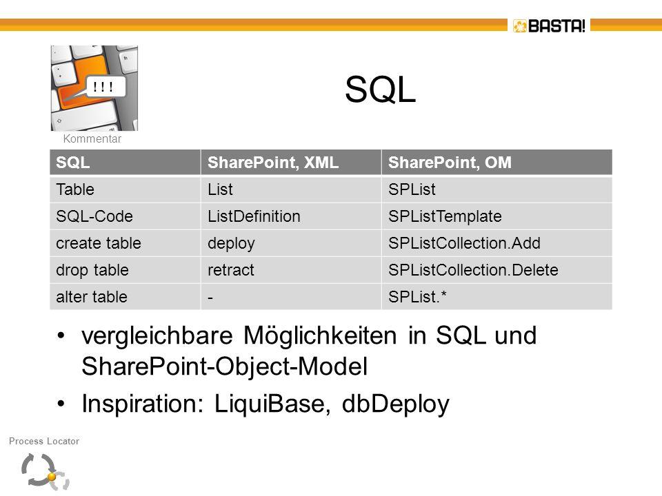 SQL vergleichbare Möglichkeiten in SQL und SharePoint-Object-Model