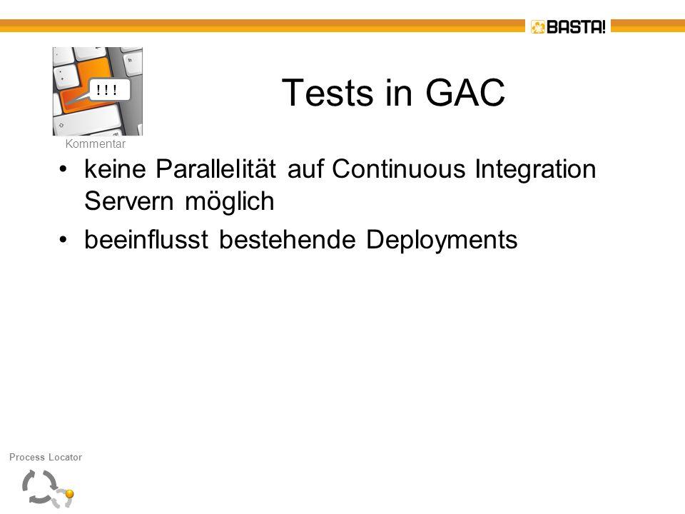 Kommentar ! ! ! Tests in GAC. keine Parallelität auf Continuous Integration Servern möglich. beeinflusst bestehende Deployments.