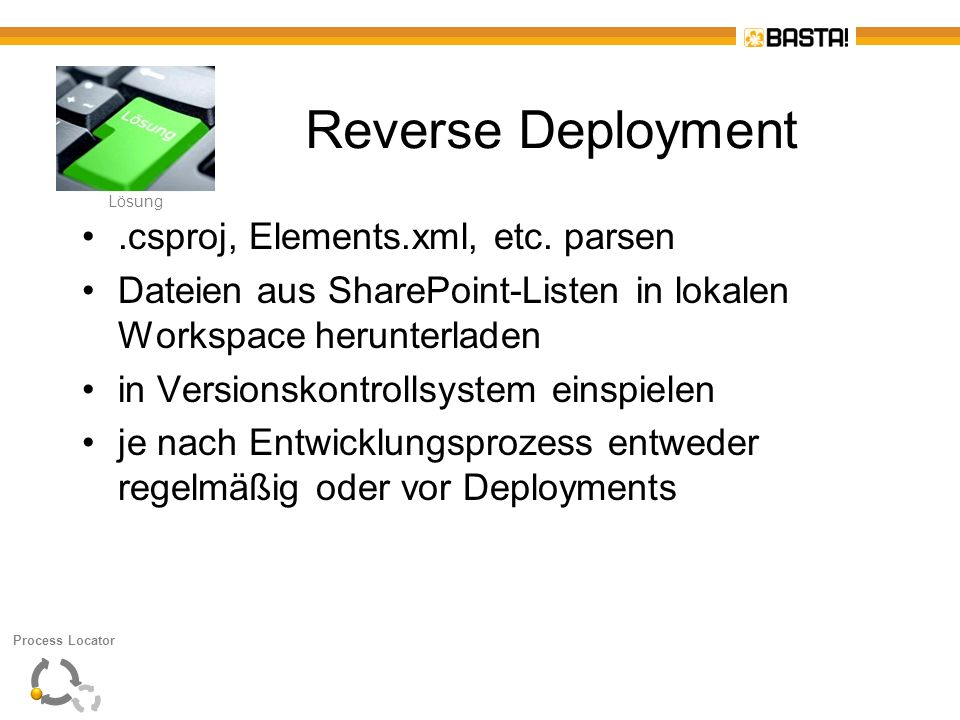 Reverse Deployment .csproj, Elements.xml, etc. parsen