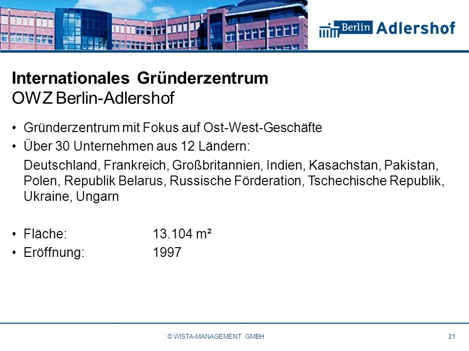 Internationales Gründerzentrum OWZ Berlin-Adlershof