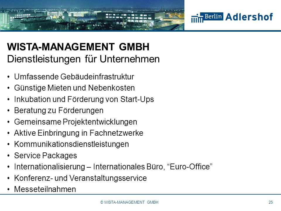 WISTA-MANAGEMENT GMBH Dienstleistungen für Unternehmen