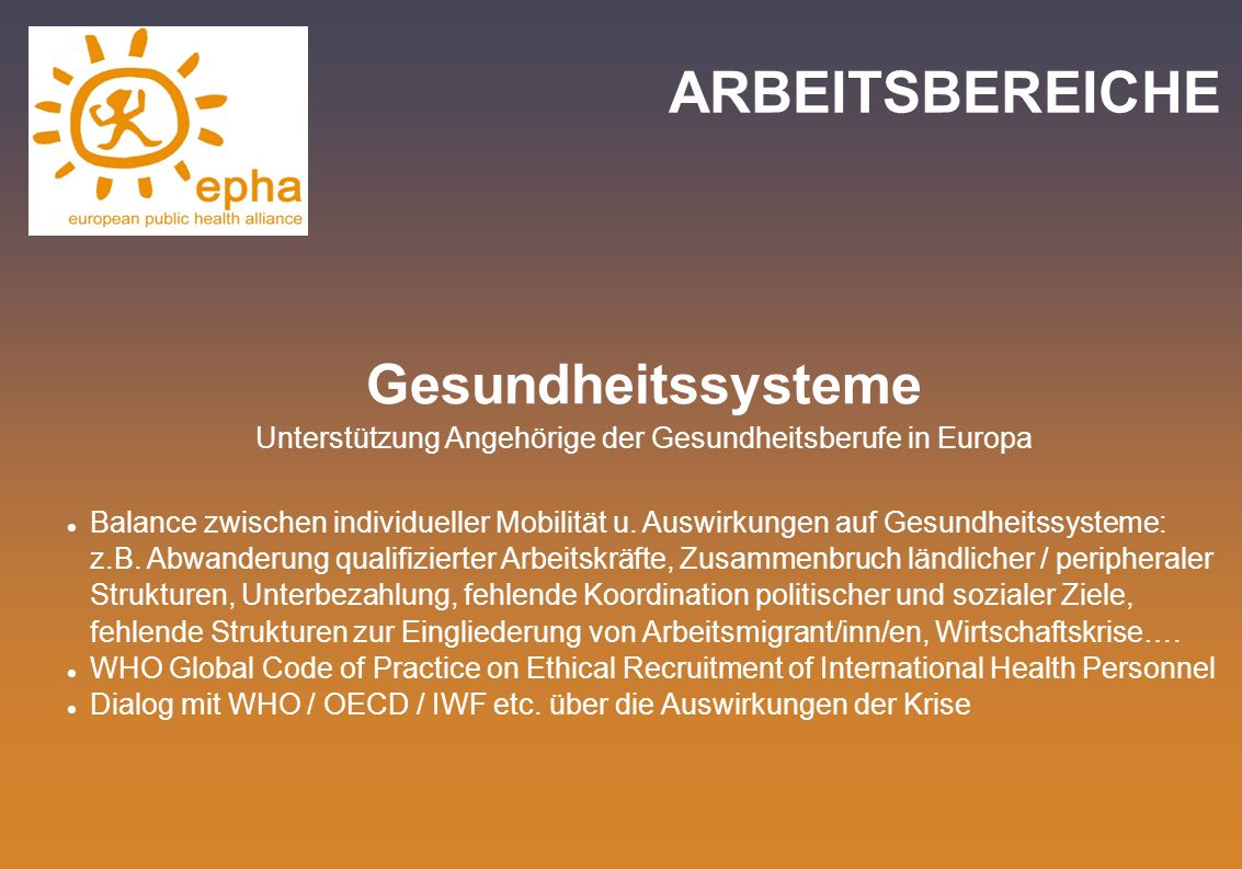 Unterstützung Angehörige der Gesundheitsberufe in Europa