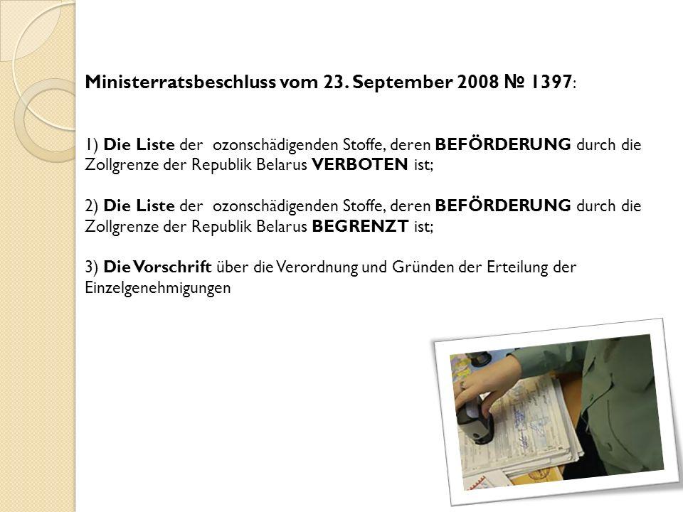 Ministerratsbeschluss vom 23