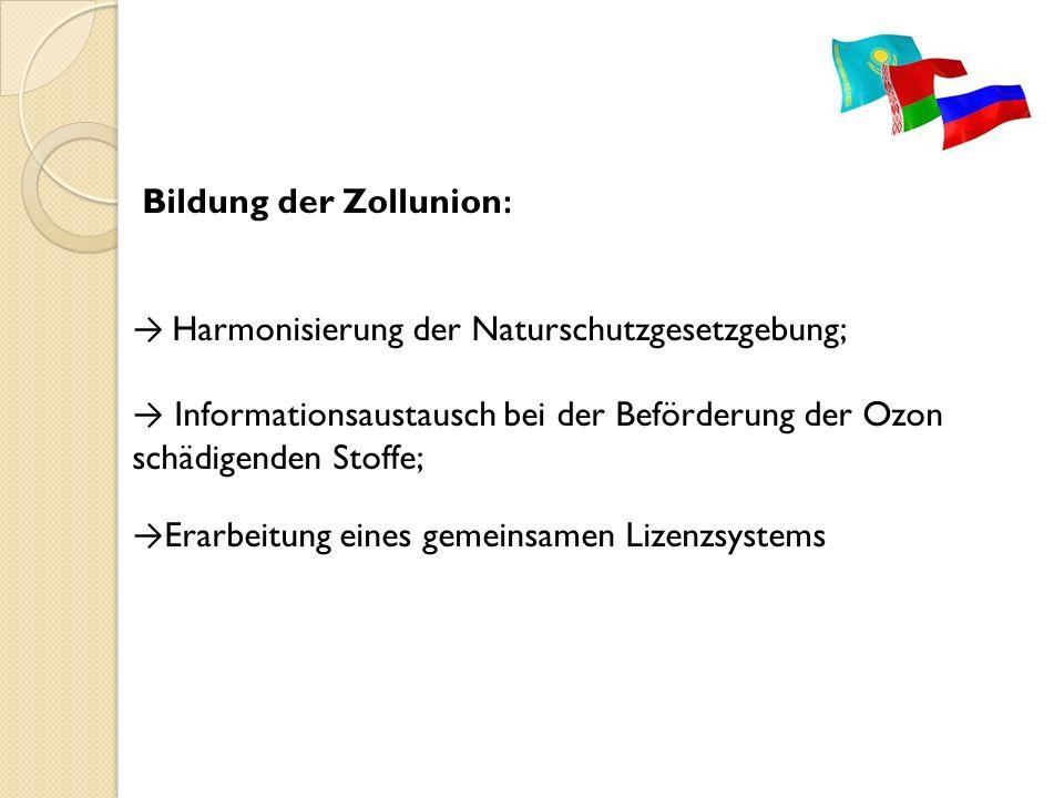 Bildung der Zollunion: → Harmonisierung der Naturschutzgesetzgebung; → Informationsaustausch bei der Beförderung der Ozon schädigenden Stoffe; →Erarbeitung eines gemeinsamen Lizenzsystems