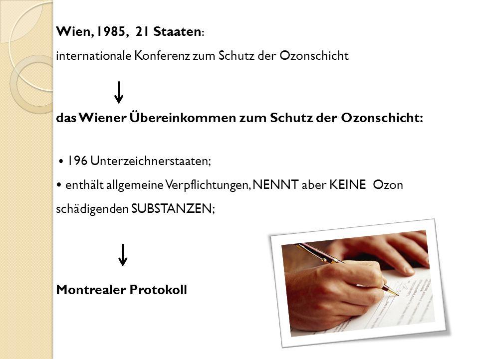 Wien, 1985, 21 Staaten: internationale Konferenz zum Schutz der Ozonschicht das Wiener Übereinkommen zum Schutz der Ozonschicht: • 196 Unterzeichnerstaaten; • enthält allgemeine Verpflichtungen, NENNT aber KEINE Ozon schädigenden SUBSTANZEN; Montrealer Protokoll