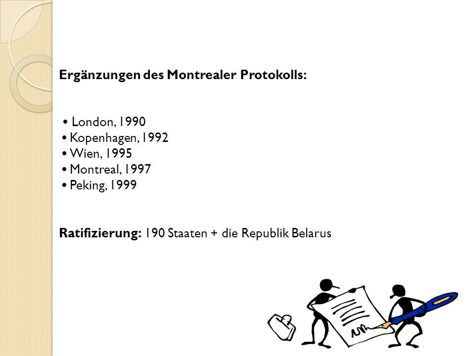 Ergänzungen des Montrealer Protokolls: • London, 1990 • Kopenhagen, 1992 • Wien, 1995 • Montreal, 1997 • Peking, 1999 Ratifizierung: 190 Staaten + die Republik Belarus
