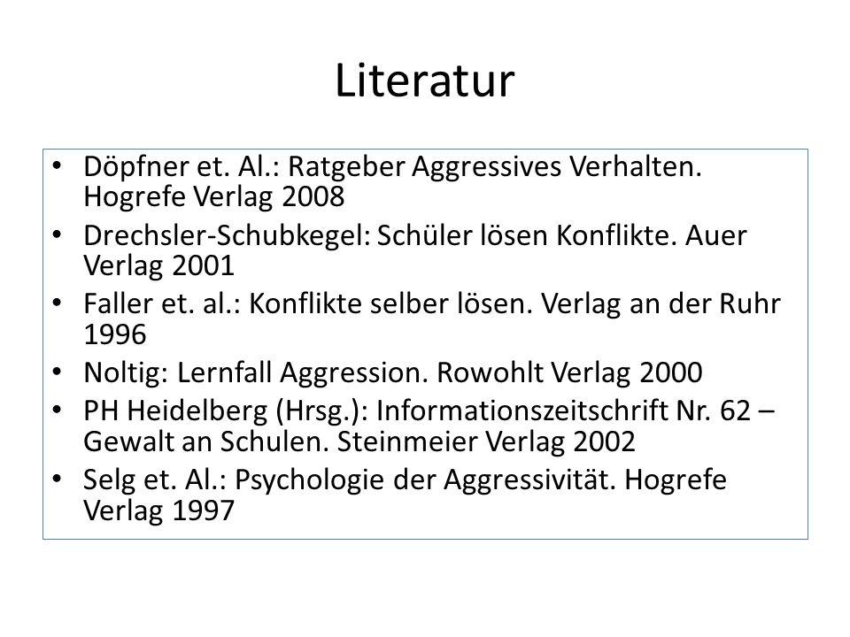 Literatur Döpfner et. Al.: Ratgeber Aggressives Verhalten. Hogrefe Verlag 2008. Drechsler-Schubkegel: Schüler lösen Konflikte. Auer Verlag 2001.