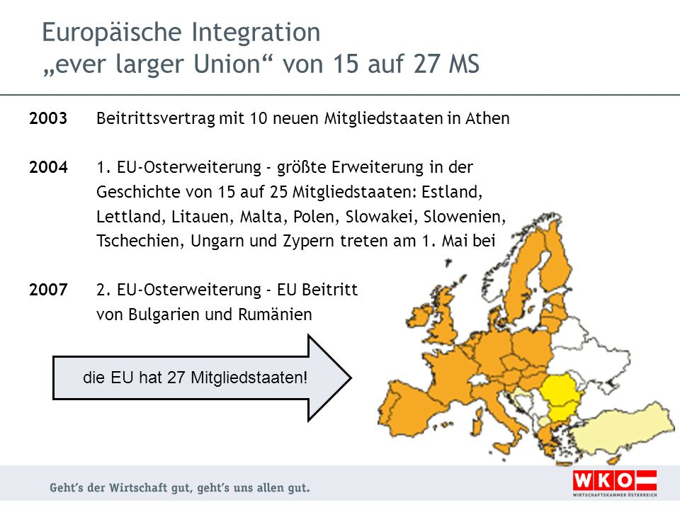 """Europäische Integration """"ever larger Union von 15 auf 27 MS"""