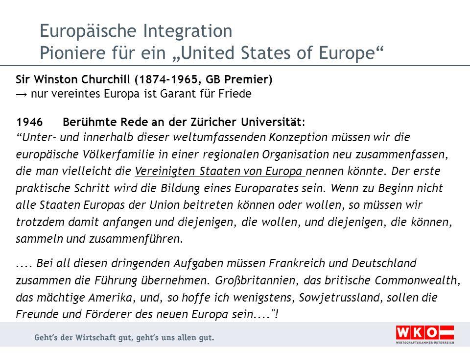 """Europäische Integration Pioniere für ein """"United States of Europe"""