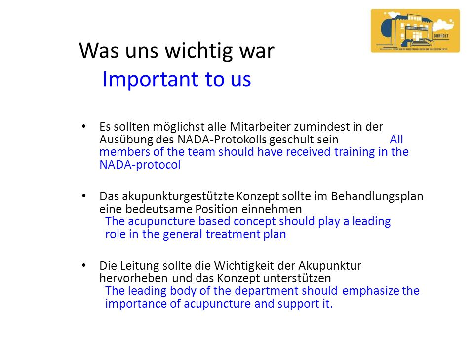 Was uns wichtig war Important to us